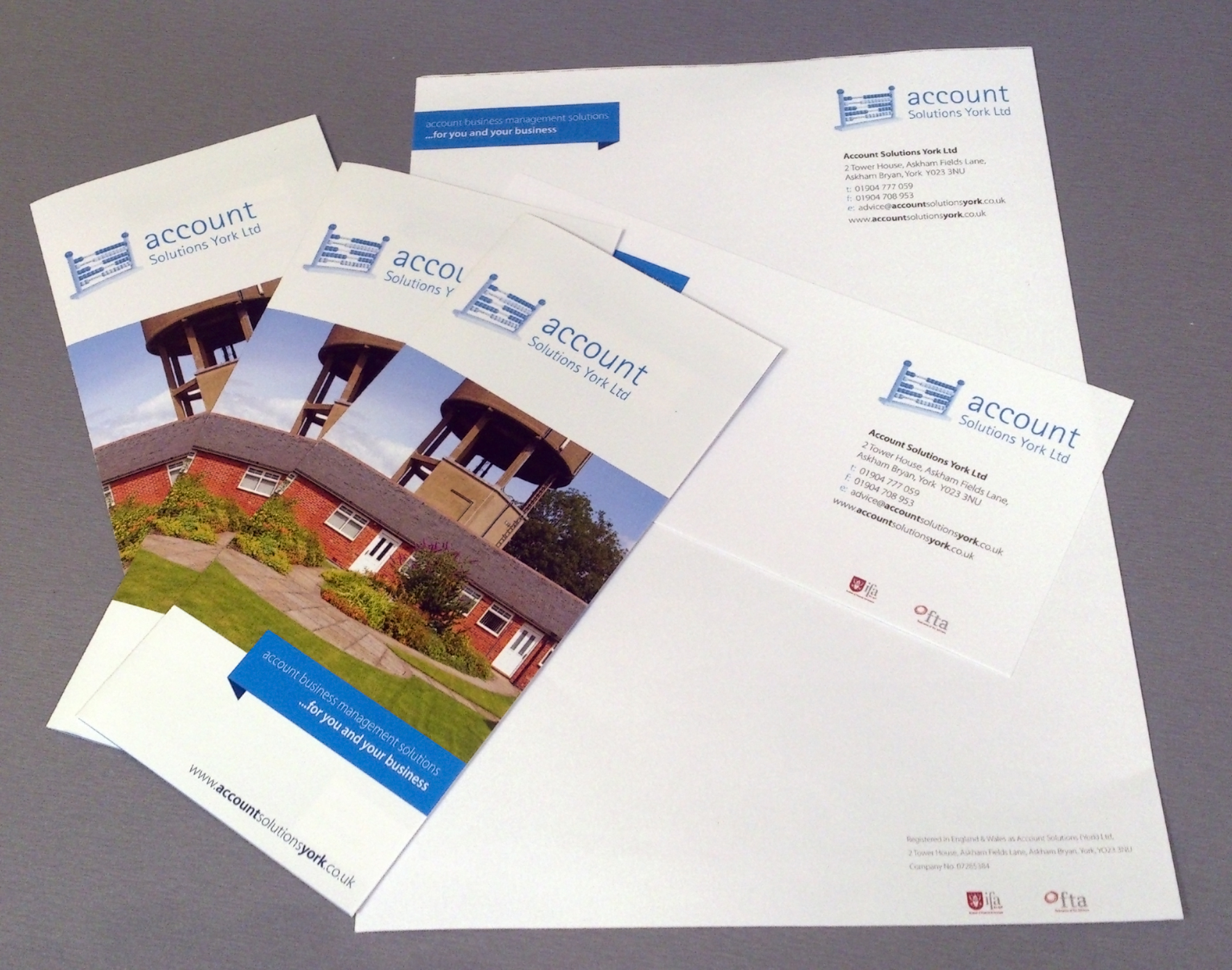 Account Solution brochures and stationery
